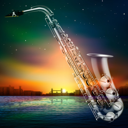 classical theater: abstract sunset background with silhouette of london and saxophone Illustration
