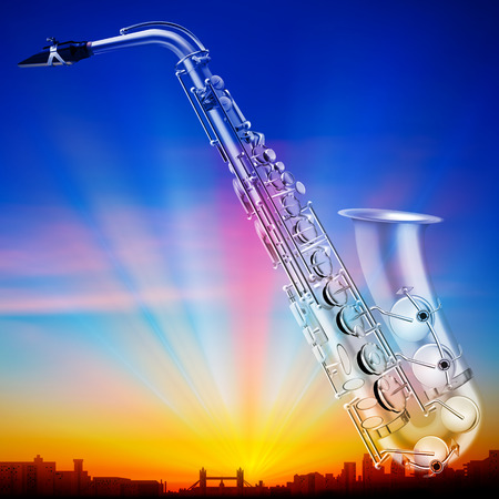 classical theater: abstract sunrise background with silhouette of london and saxophone Illustration
