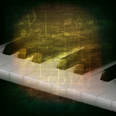 music symbol: abstract grunge music background with piano keys on green