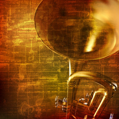 abstract grunge brown vintage music background with trumpet