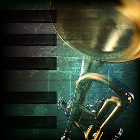 abstract green grunge vintage music background with trumpet and piano keys Illustration