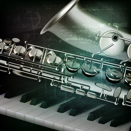 blare: abstract green grunge vintage music background with piano and saxophone Illustration