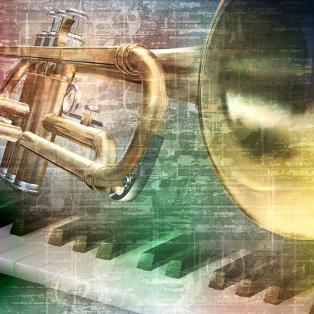 abstract gray grunge vintage music background with piano and trumpet