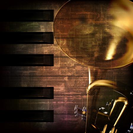 troubadour: abstract grunge dark brown vintage music background with trumpet Illustration