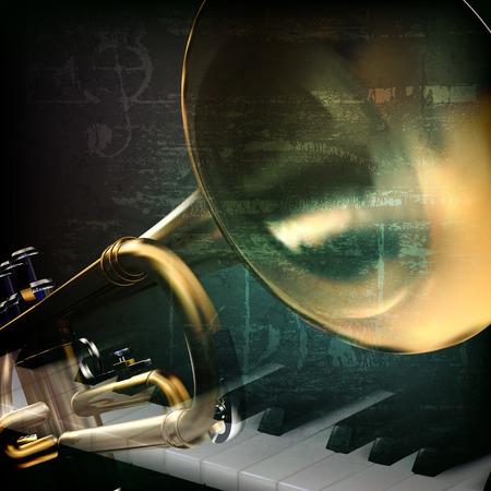 soprano saxophone: resumen de antecedentes grunge música de la vendimia verde con teclas de piano y trompeta Vectores
