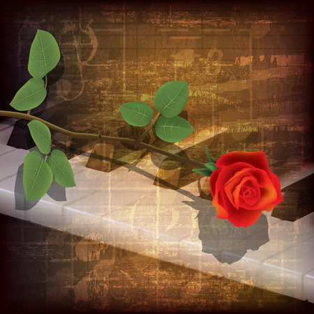 abstract grunge music background with piano keys and red rose Vector