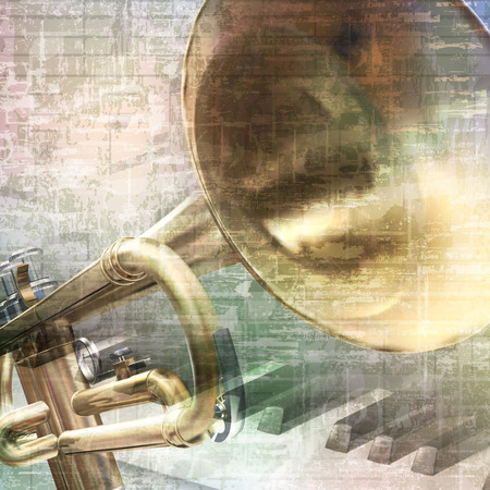 abstract grunge vintage music background with trumpet and piano keys