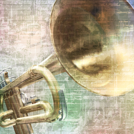 abstract grunge vintage music background with trumpet on gray