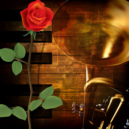 troubadour: abstract grunge vintage music background with trumpet piano and red rose Illustration