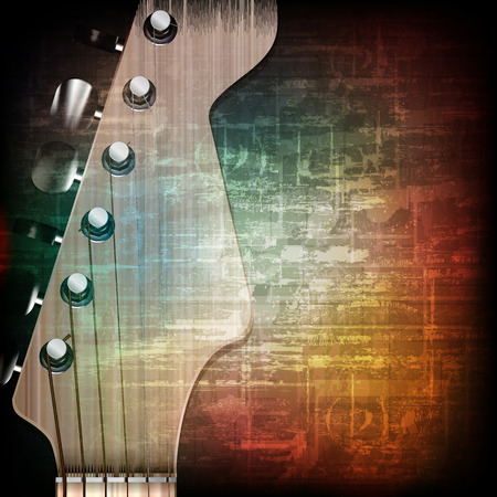abstract music grunge vintage background with guitar