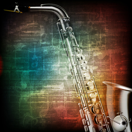 classical: abstract music grunge vintage background with saxophone on brown