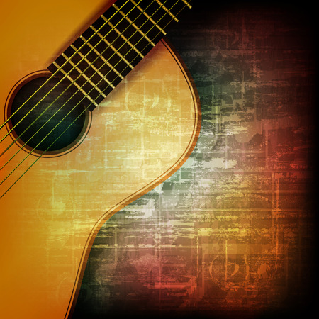 abstract music grunge vintage background with acoustic guitar Çizim