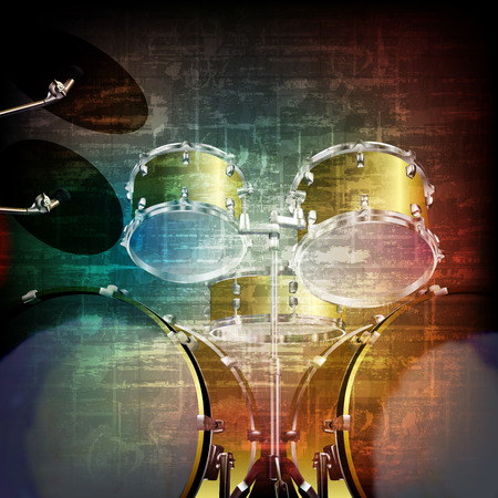 abstract music grunge vintage sound background with drum kit Illustration