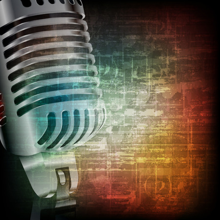 abstract music grunge vintage background with retro microphone