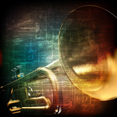 abstract music grunge vintage background with trumpet on brown