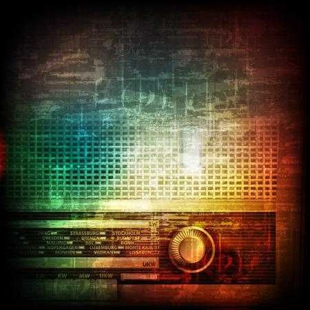 abstract music grunge vintage background with retro radio Illustration