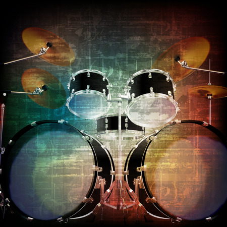 abstract music grunge vintage sound background with drum kit on brown