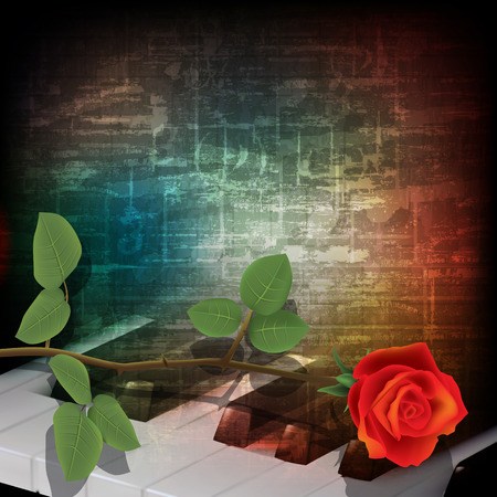 abstract music grunge vintage background with piano keys and rose Illustration