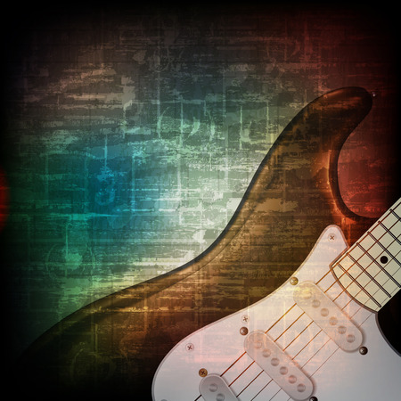 troubadour: abstract music grunge vintage sound background with electric guitar