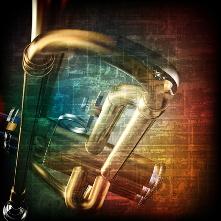 troubadour: abstract music grunge vintage background with trumpet Illustration