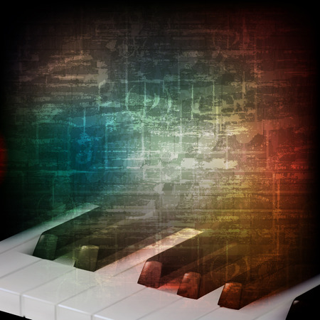 abstract music grunge vintage background with piano keys Çizim