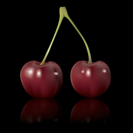 macro: red vector cherry isolated on black background
