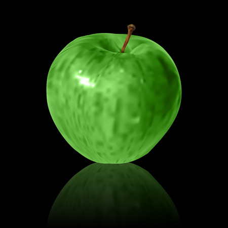 macro leaf: green vector apple isolated on black background
