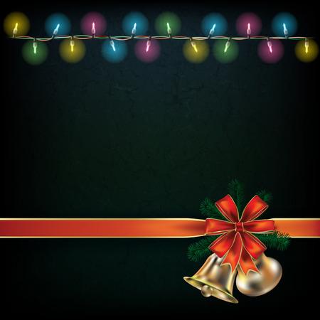 luces navidad: Fondo abstracto con las luces de Navidad y campanas