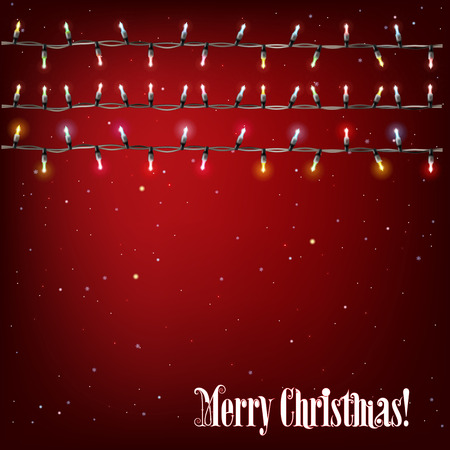 string: Abstract background with Christmas lights on red
