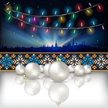 christmas lights: Abstract celebration background with Christmas lights silhouette of Tallinn and estonian ornament