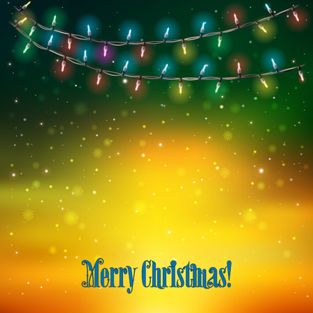 holydays: Abstract holydays background with Christmas lights on yellow green
