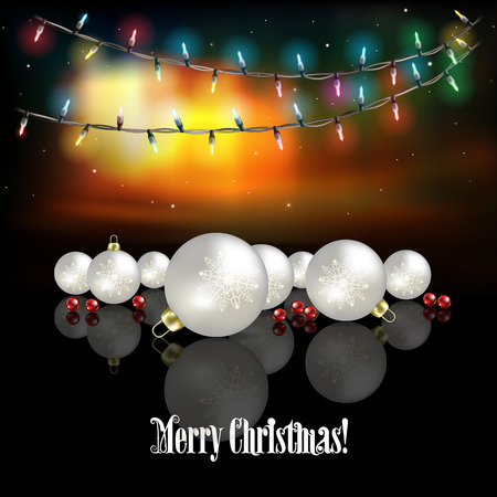northern light: Abstract celebration background with white decorations and Christmas lights