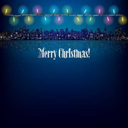 city lights: abstract background with Cristmas lights and silhouette of city Illustration