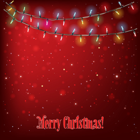holydays: Abstract holydays background with Christmas lights on red