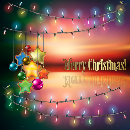 christmas fire: Abstract background with Christmas lights decorations and stars Illustration