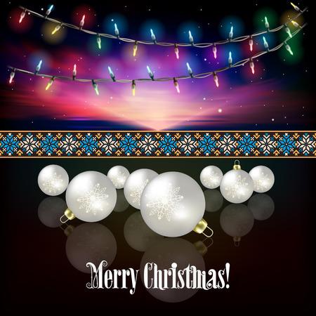 christmas lights: Abstract celebration background with Christmas lights and white decorations Illustration