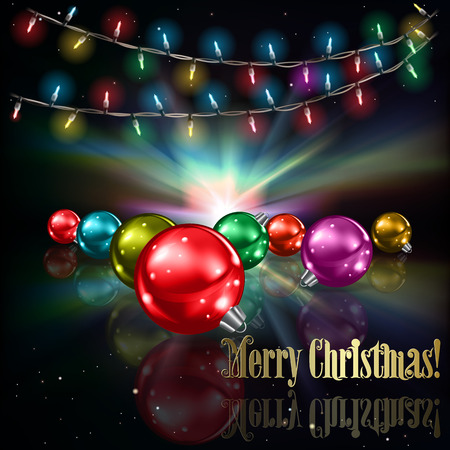 christmas lights background: Abstract stars background with Christmas lights and decorations Illustration