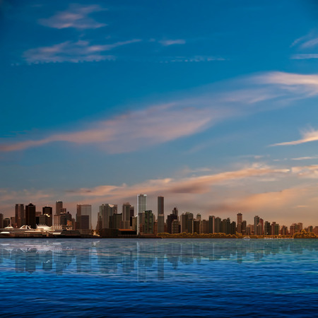 horizon over water: abstract nature background with blue sky and panorama of Vancouver Illustration
