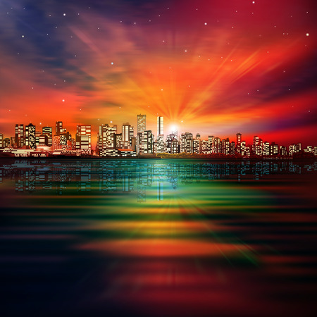 vancouver city: abstract nature background with panorama of vancouver and red sunset