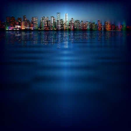 vancouver city: abstract night blue background with silhouette of city Illustration