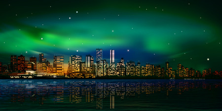 vancouver city: abstract city background with panorama of vancouver and green sunset