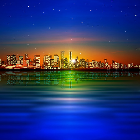 vancouver: abstract nature background with panorama of vancouver and sunset Illustration