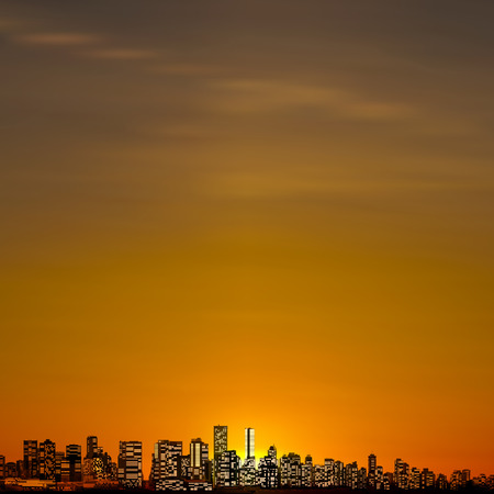 sunrise ocean: abstract city brown background with panorama of vancouver