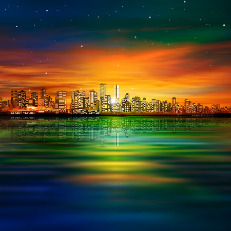 vancouver city: abstract red nature background with panorama of vancouver and sunset Illustration