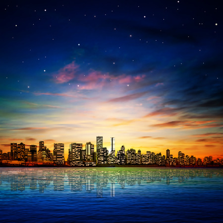 horizon reflection: abstract city background with panorama of vancouver sunset and stars