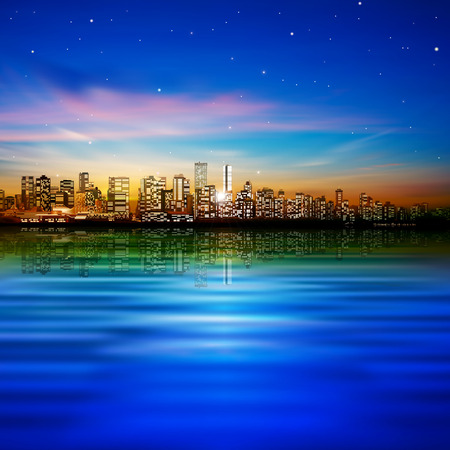 abstract city background with panorama of vancouver and sunset