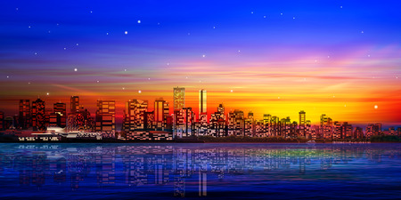 vancouver city: abstract city background with panorama of vancouver and red sunset