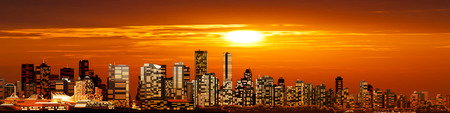 vancouver: abstract background with panorama of vancouver and red sunset