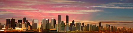 pink sky: abstract pink sky background with panorama of city