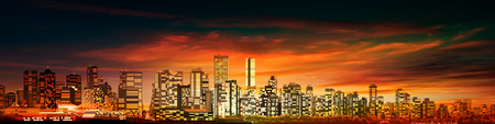 horizons: abstract red sunset background with panorama of vancouver Illustration
